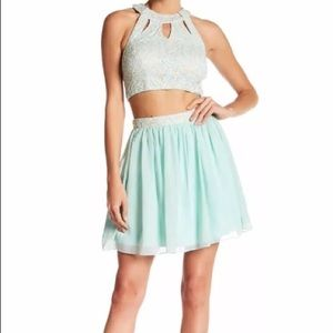 NWT Speechless Lace Formal Cutout Top & Skirt Set